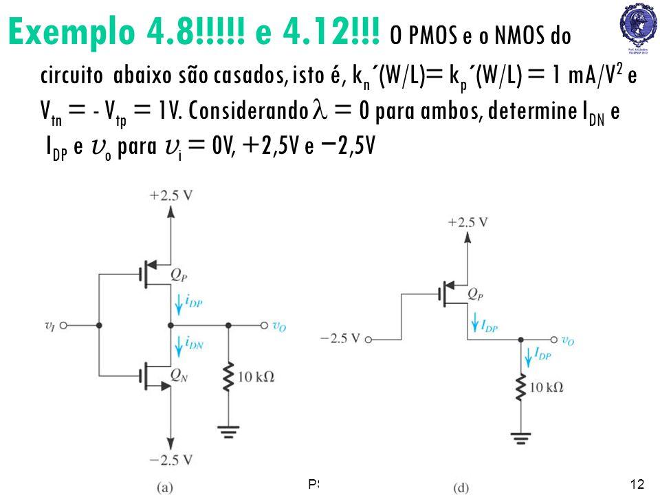 PSI222312 Exemplo 4.8!!!!! e 4.12!!! O PMOS e o NMOS do circuito abaixo são casados, isto é, k n ´(W/L)= k p ´(W/L) = 1 mA/V 2 e V tn = - V tp = 1V. C