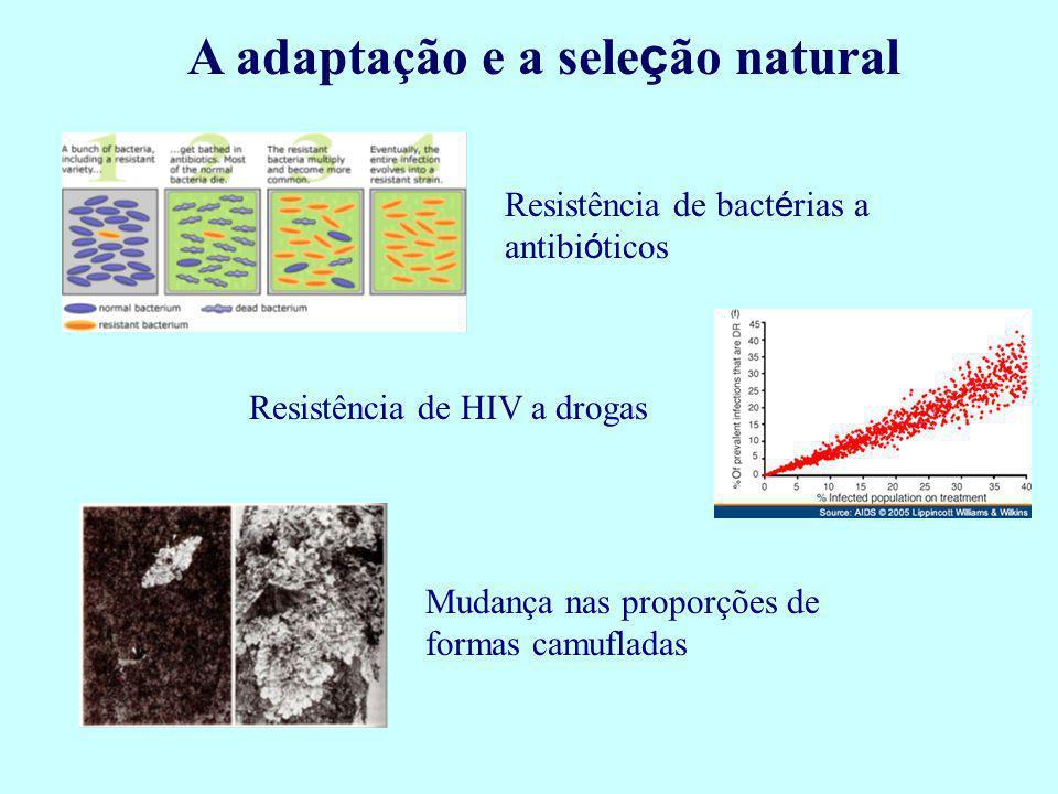 A adaptação e a sele ç ão natural Resistência de bact é rias a antibi ó ticos Resistência de HIV a drogas Mudança nas proporções de formas camufladas
