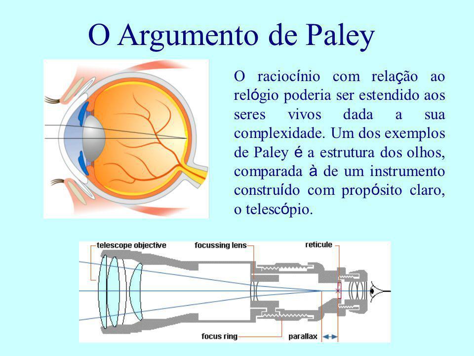 O Argumento de Paley O racioc í nio com rela ç ão ao rel ó gio poderia ser estendido aos seres vivos dada a sua complexidade. Um dos exemplos de Paley
