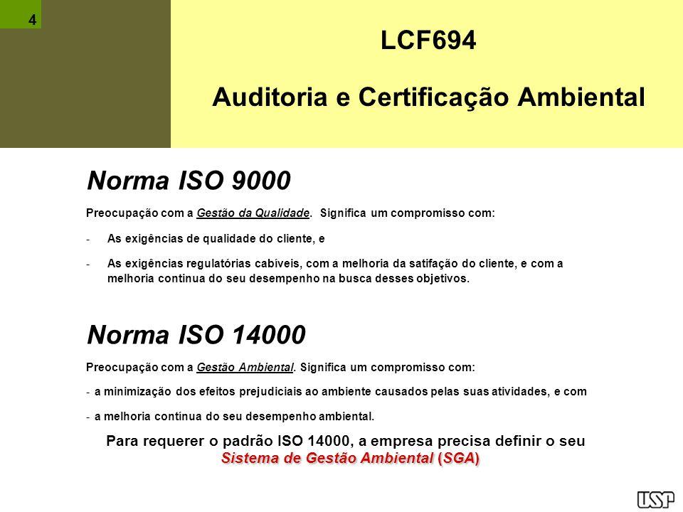 LCF694 Auditoria e Certificação Ambiental Norma ISO 9000 Preocupação com a Gestão da Qualidade. Significa um compromisso com: -As exigências de qualid