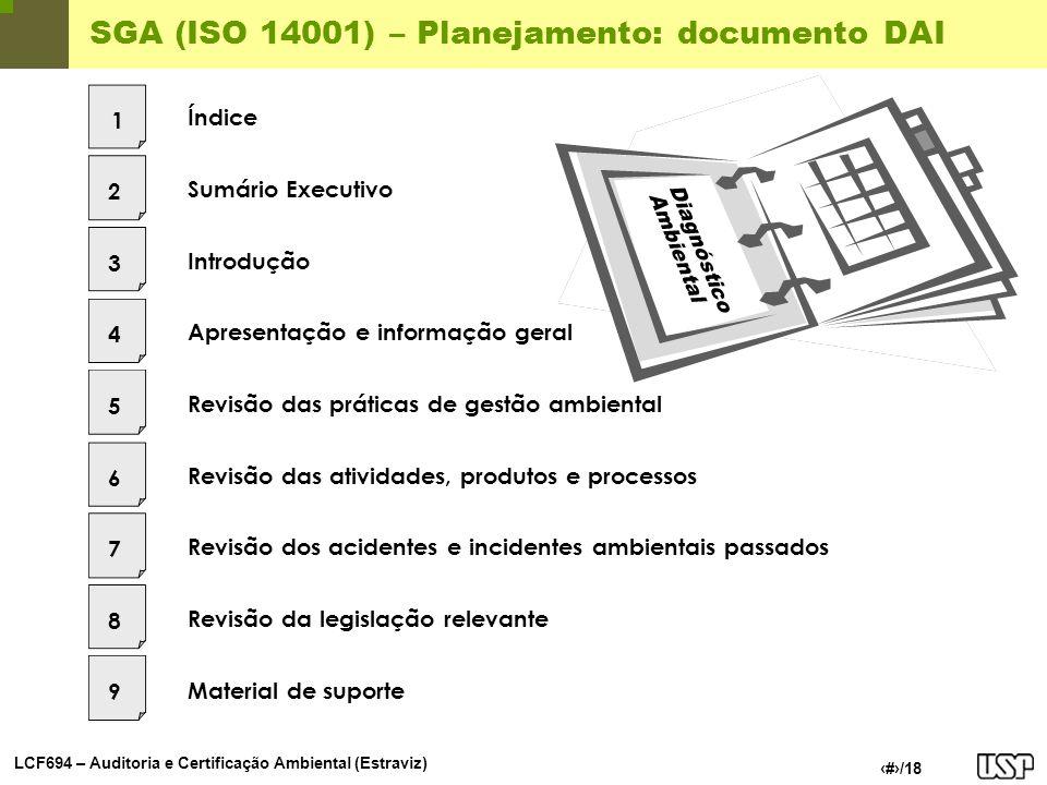 LCF694 – Auditoria e Certificação Ambiental (Estraviz) 11/18 SGA (ISO 14001) – Planejamento: documento DAI Sumário Executivo Introdução Apresentação e