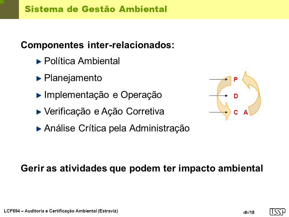 LCF694 – Auditoria e Certificação Ambiental (Estraviz) 3/18 Sistema de Gestão Ambiental Componentes inter-relacionados: Política Ambiental Planejament