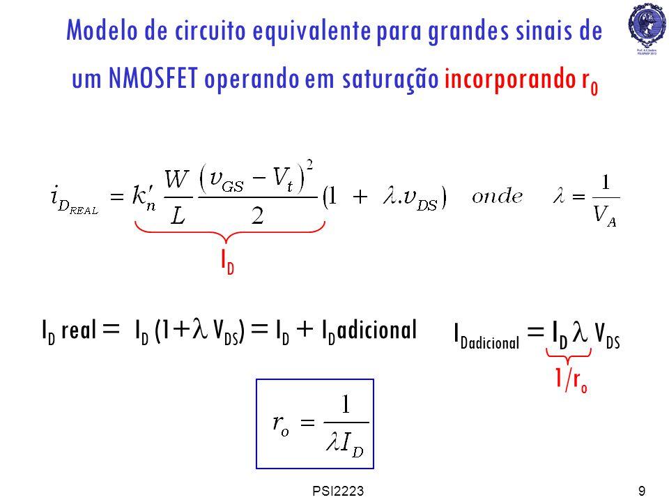 PSI22239 Modelo de circuito equivalente para grandes sinais de um NMOSFET operando em saturação incorporando r 0 I D real = I D (1+ V DS ) = I D + I D