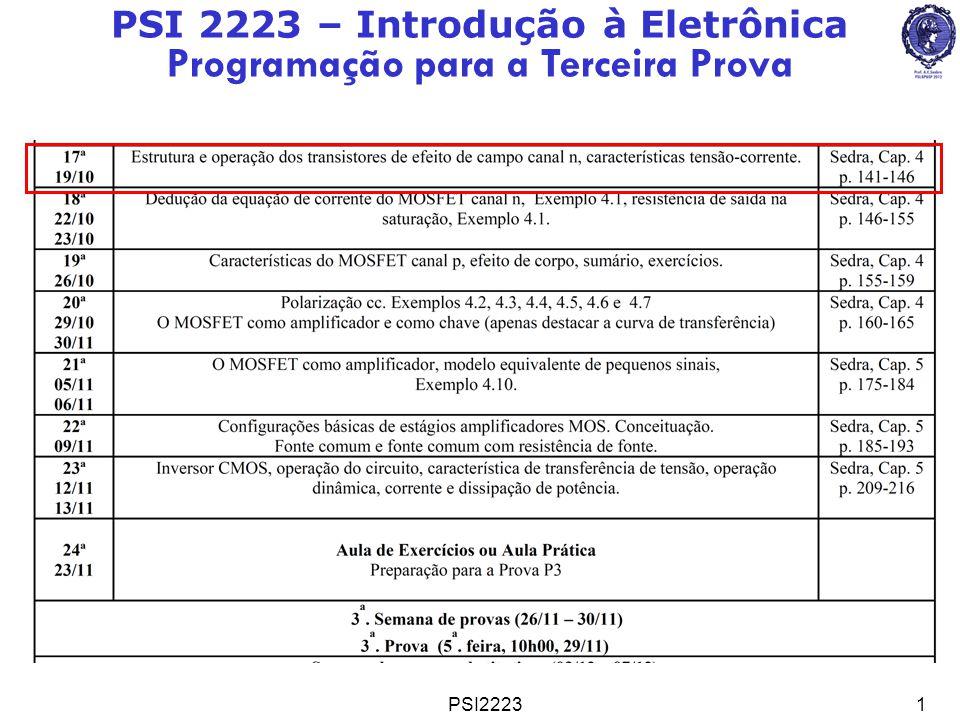 PSI22231 PSI 2223 – Introdução à Eletrônica Programação para a Terceira Prova