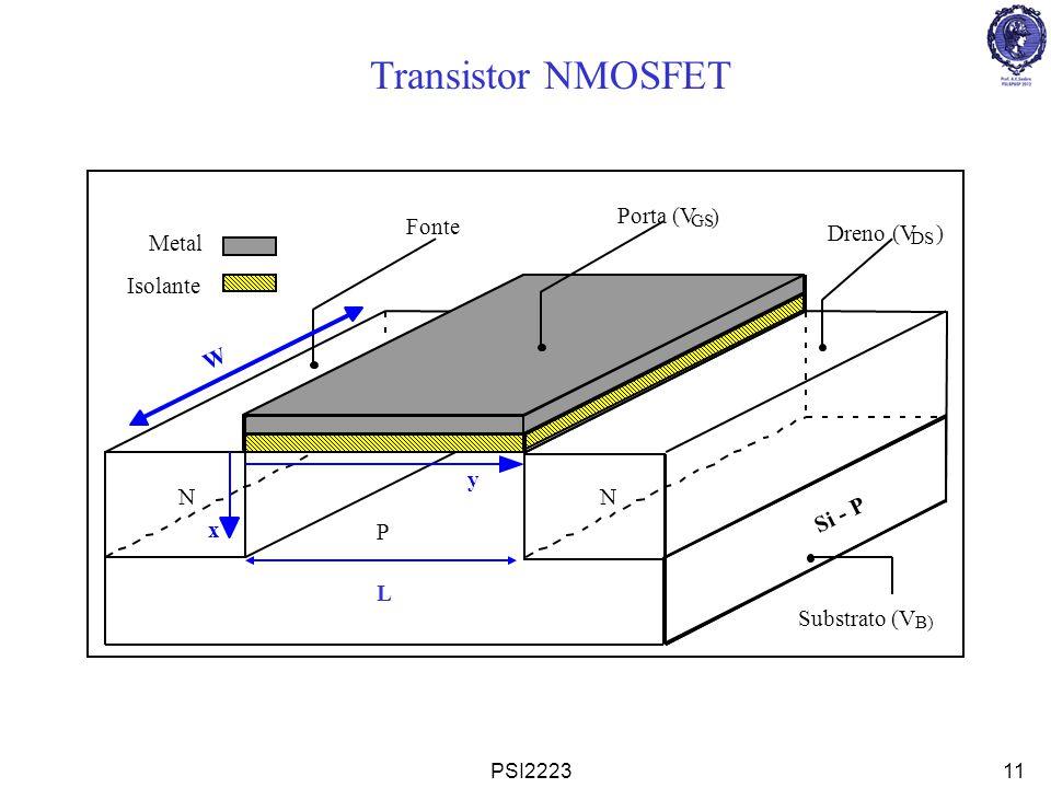 PSI222312 1: Se a Fonte e o Substrato estiverem aterrados, não haverá corrente na junção Fonte-Substrato.