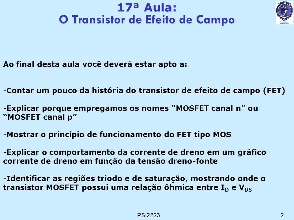 PSI22233 Transistores de Efeito de Campo (FET – Field Effect Transistors) MOSFET (Metal-Oxide-Semiconductor) JFET (Junction) MESFET (MEtal-Semiconductor)