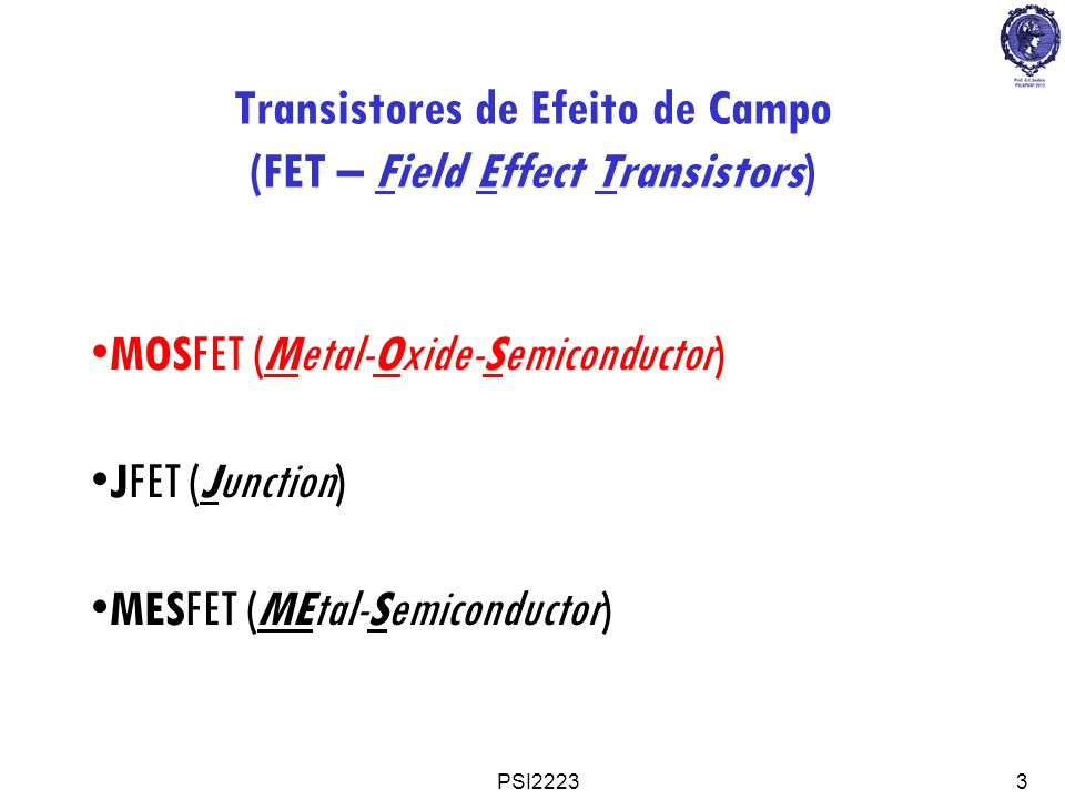 PSI22233 Transistores de Efeito de Campo (FET – Field Effect Transistors) MOSFET (Metal-Oxide-Semiconductor) JFET (Junction) MESFET (MEtal-Semiconduct