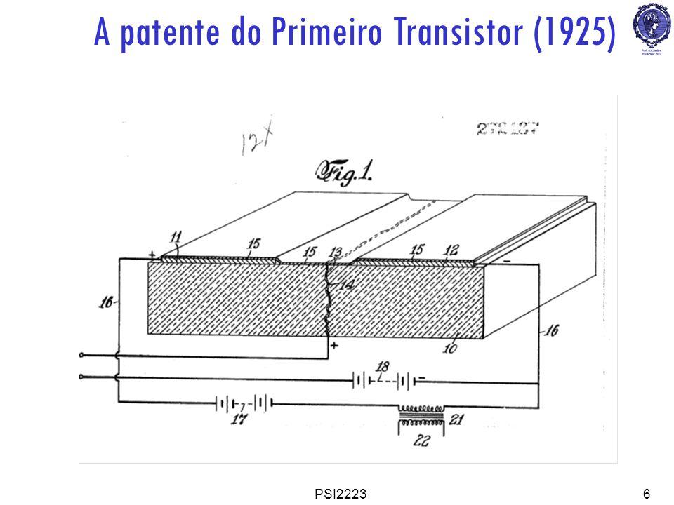 PSI22237 Transistor NMOSFET (M etal-Oxide-Semiconductor Field Effect Transistor, canal N, tipo Enriquecimento) S D G V DS V GS I DS N+ P Porta Porta(G-Gate) Dreno Dreno(D-Drain) Fonte Fonte(S-Source) Substrato(B-Body) Metal Óxido Sem.