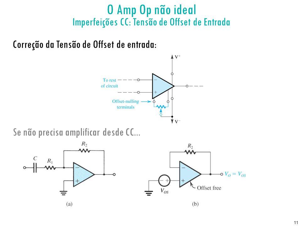 11 Correção da Tensão de Offset de entrada: Se não precisa amplificar desde CC... O Amp Op não ideal Imperfeições CC: Tensão de Offset de Entrada