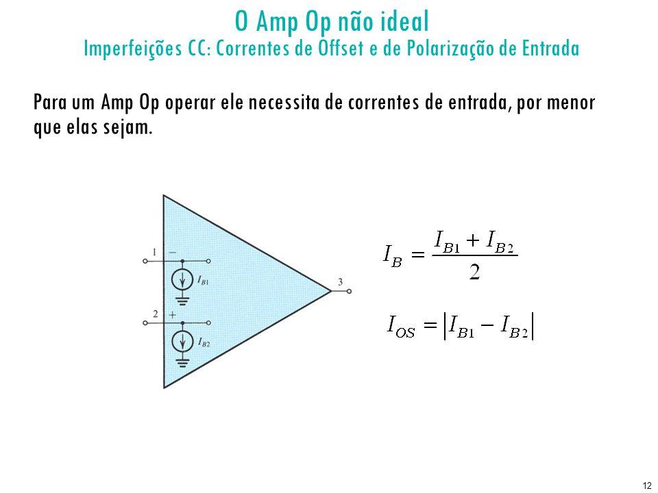 12 O Amp Op não ideal Imperfeições CC: Correntes de Offset e de Polarização de Entrada Para um Amp Op operar ele necessita de correntes de entrada, por menor que elas sejam.