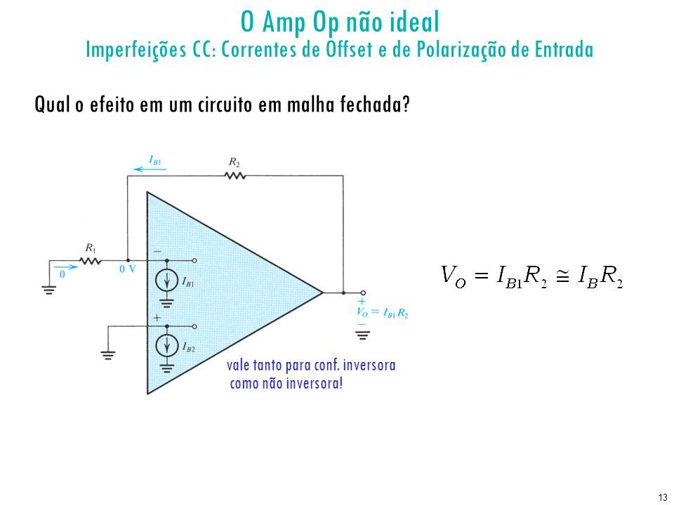 13 O Amp Op não ideal Imperfeições CC: Correntes de Offset e de Polarização de Entrada Qual o efeito em um circuito em malha fechada? vale tanto para