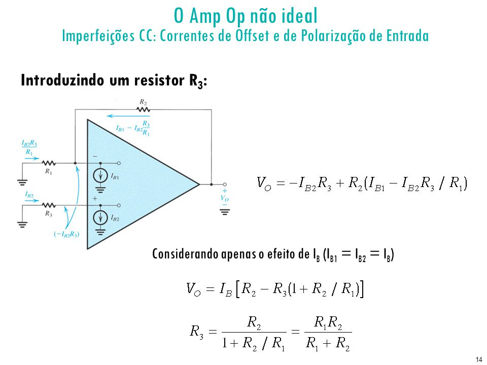 14 O Amp Op não ideal Imperfeições CC: Correntes de Offset e de Polarização de Entrada Introduzindo um resistor R 3 : Considerando apenas o efeito de