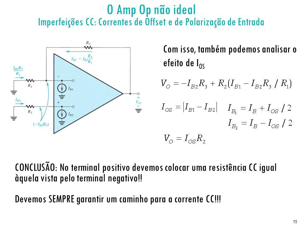 15 O Amp Op não ideal Imperfeições CC: Correntes de Offset e de Polarização de Entrada Com isso, também podemos analisar o efeito de I OS CONCLUSÃO: N