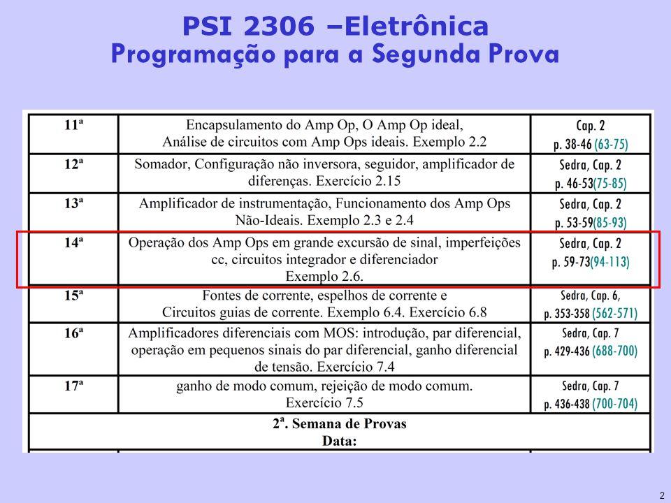 2 PSI 2306 –Eletrônica Programação para a Segunda Prova