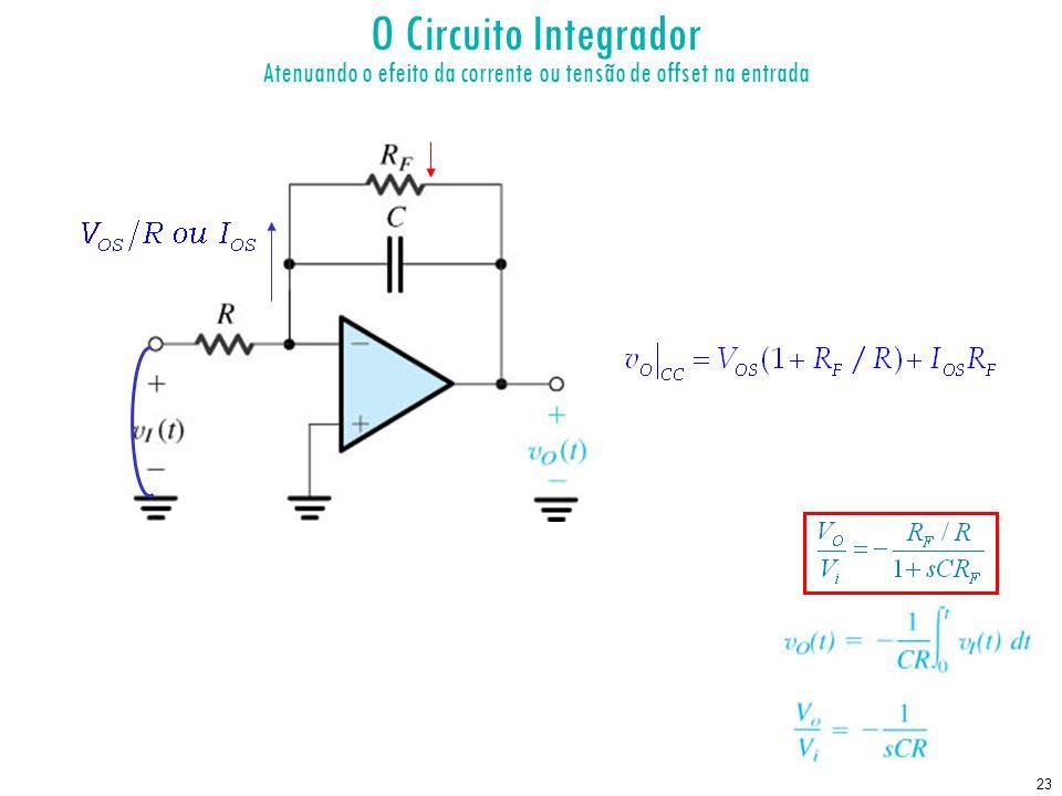 23 O Circuito Integrador Atenuando o efeito da corrente ou tensão de offset na entrada