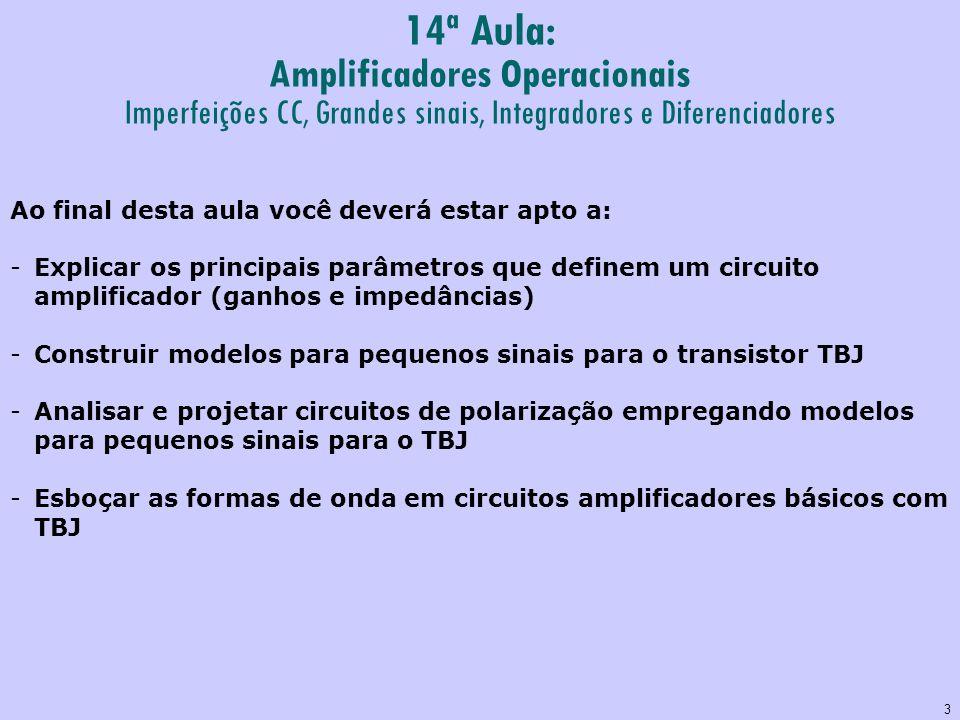 3 14ª Aula: Amplificadores Operacionais Imperfeições CC, Grandes sinais, Integradores e Diferenciadores Ao final desta aula você deverá estar apto a: -Explicar os principais parâmetros que definem um circuito amplificador (ganhos e impedâncias) -Construir modelos para pequenos sinais para o transistor TBJ -Analisar e projetar circuitos de polarização empregando modelos para pequenos sinais para o TBJ -Esboçar as formas de onda em circuitos amplificadores básicos com TBJ