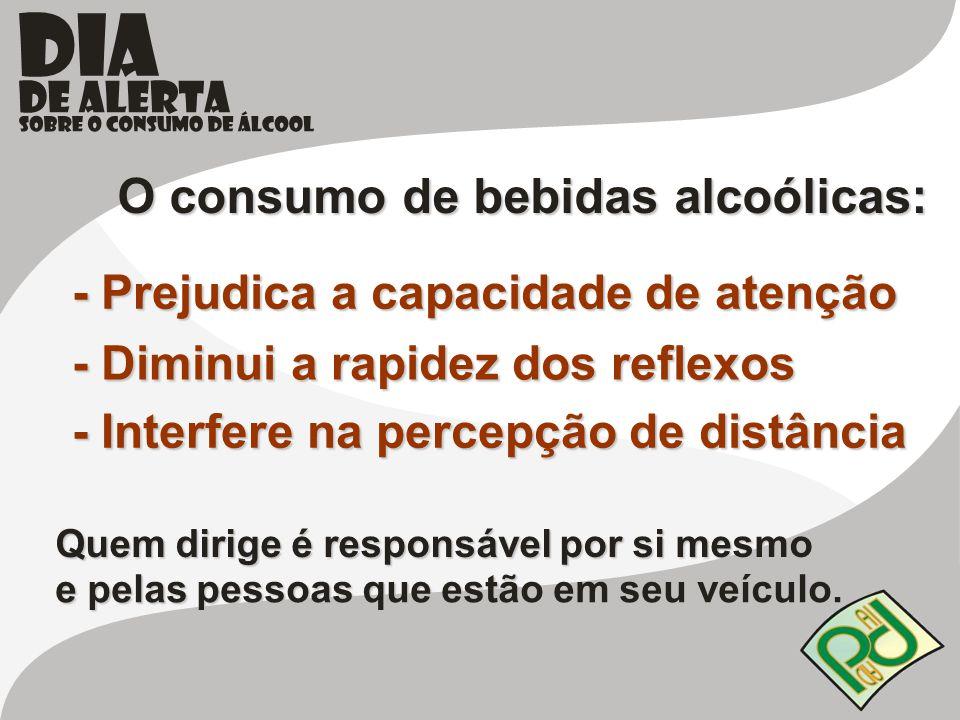 O consumo de bebidas alcoólicas: - Prejudica a capacidade de atenção - Diminui a rapidez dos reflexos - Interfere na percepção de distância Quem dirig