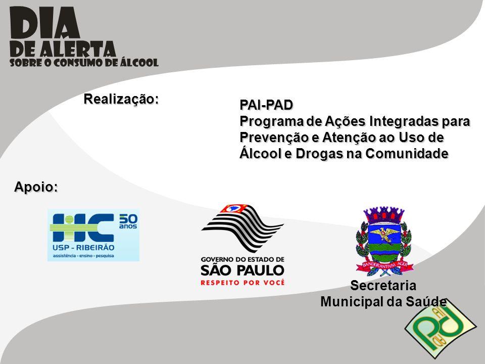 Realização: PAI-PAD Programa de Ações Integradas para Prevenção e Atenção ao Uso de Álcool e Drogas na Comunidade Apoio: Secretaria Municipal da Saúde