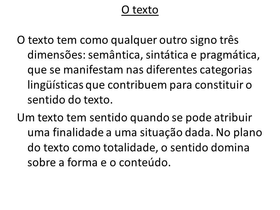 O texto O texto tem como qualquer outro signo três dimensões: semântica, sintática e pragmática, que se manifestam nas diferentes categorias lingüísti