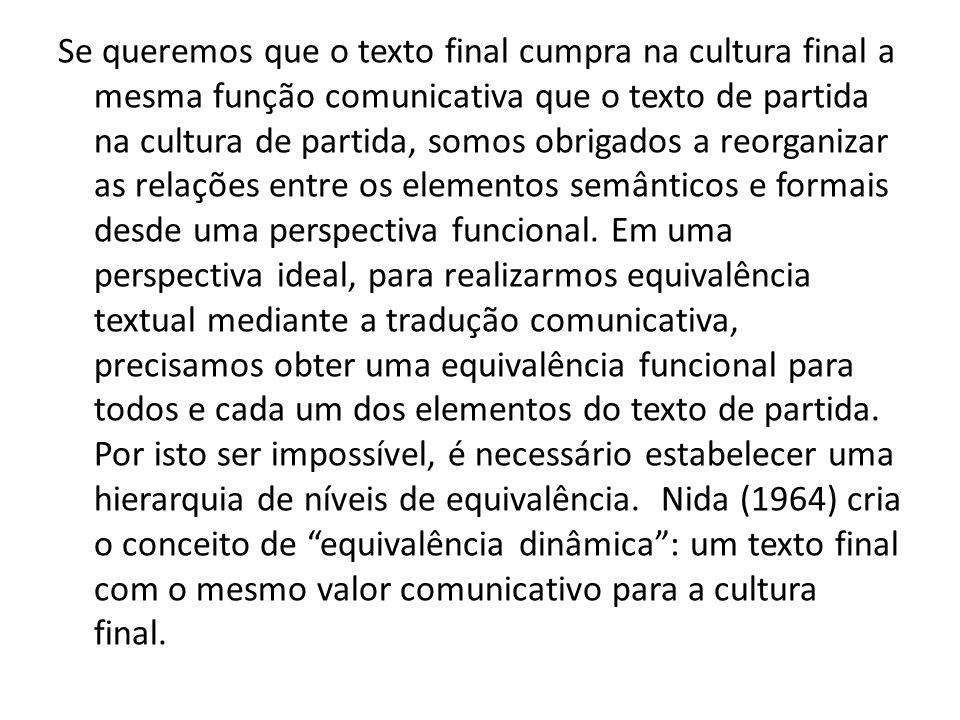 Se queremos que o texto final cumpra na cultura final a mesma função comunicativa que o texto de partida na cultura de partida, somos obrigados a reor