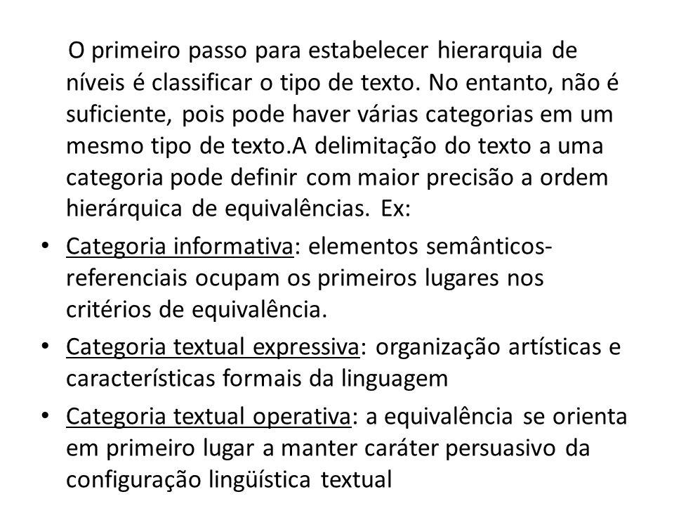 O primeiro passo para estabelecer hierarquia de níveis é classificar o tipo de texto. No entanto, não é suficiente, pois pode haver várias categorias