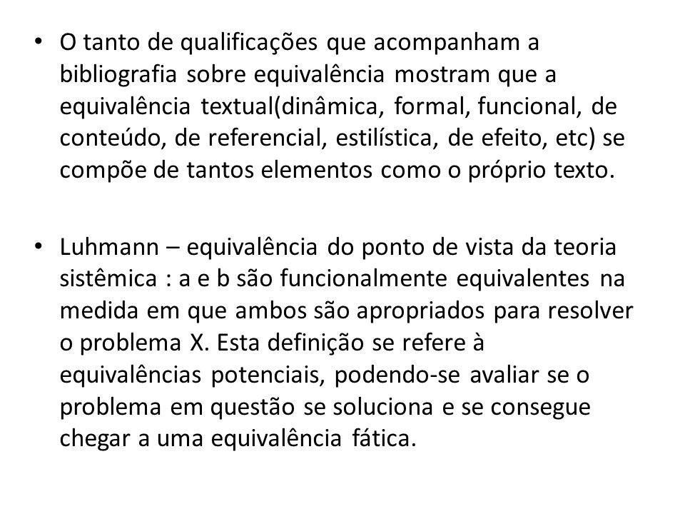 O tanto de qualificações que acompanham a bibliografia sobre equivalência mostram que a equivalência textual(dinâmica, formal, funcional, de conteúdo,