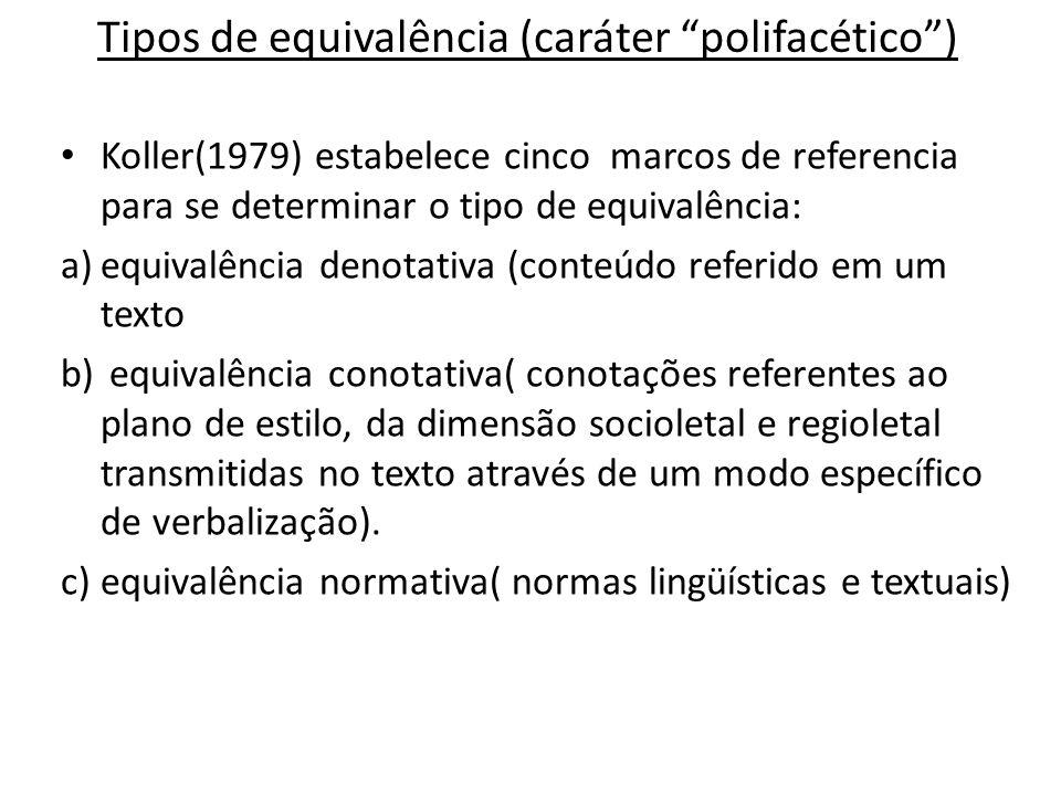 Tipos de equivalência (caráter polifacético) Koller(1979) estabelece cinco marcos de referencia para se determinar o tipo de equivalência: a)equivalên