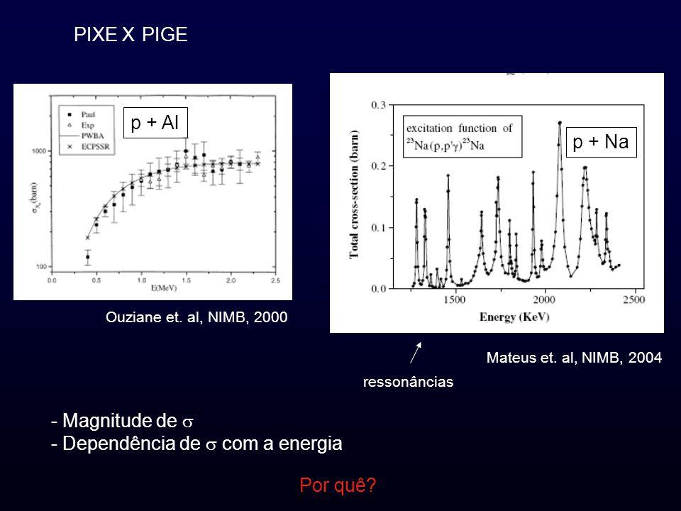 PIXE XPIGE Mateus et. al, NIMB, 2004 Ouziane et. al, NIMB, 2000 - Magnitude de - Dependência de com a energia p + Al p + Na ressonâncias Por quê?