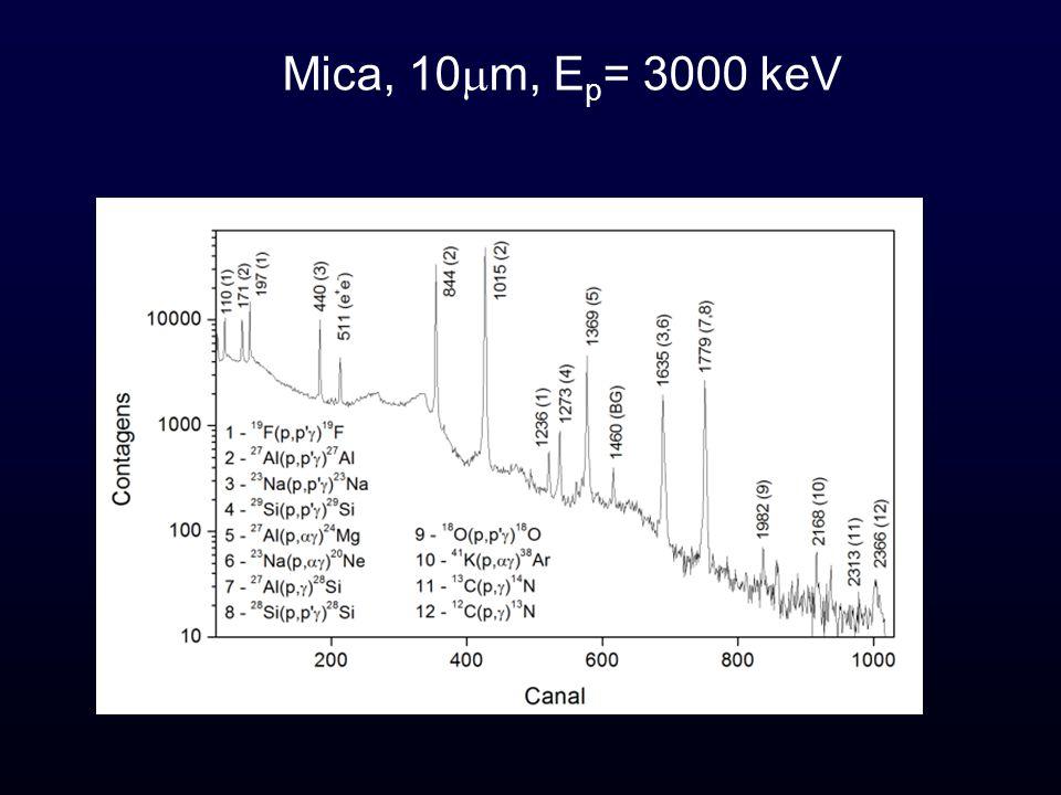 Mica, 10 m, E p = 3000 keV
