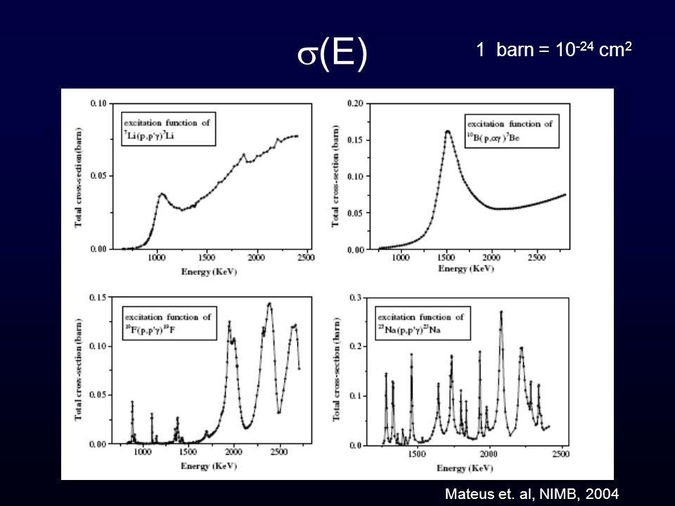 Mateus et. al, NIMB, 2004 (E) 1 barn = 10 -24 cm 2