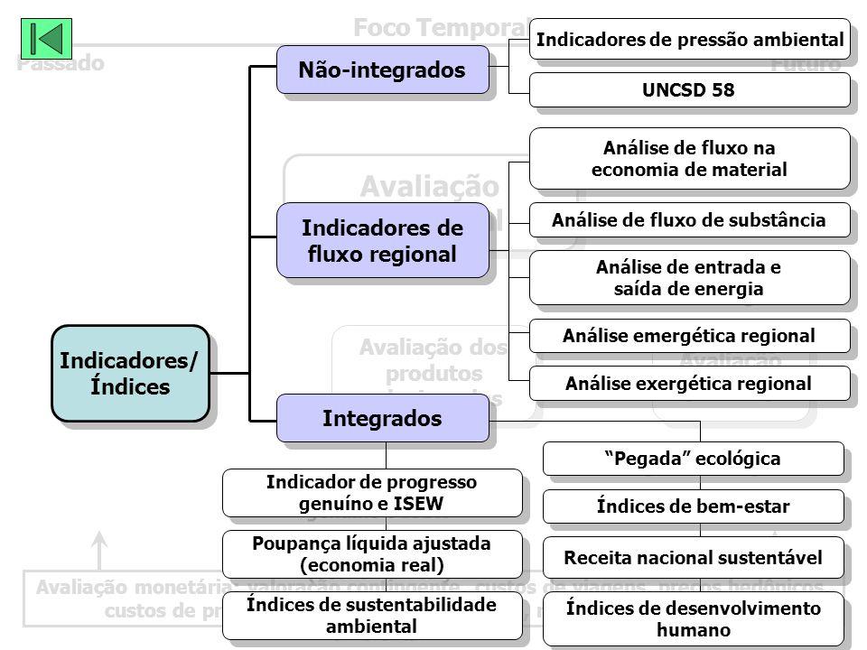 Avaliação monetária: valoração contingente, custos de viagens, preços hedônicos, custos de prevenções, custos de reposições, rendimentos de fatores Foco Temporal Passado Futuro Avaliação Ambiental Avaliação Ambiental Avaliação dos produtos relacionados Avaliação dos produtos relacionados Avaliação integrada Avaliação integrada Indicadores/ Índices Indicadores/ Índices Não-integrados Indicadores de fluxo regional Indicadores de fluxo regional Integrados Indicadores de pressão ambiental UNCSD 58 Análise de fluxo na economia de material Análise de fluxo na economia de material Análise de fluxo de substância Análise de entrada e saída de energia Análise de entrada e saída de energia Análise emergética regional Análise exergética regional Índices de sustentabilidade ambiental Índices de sustentabilidade ambiental Índices de desenvolvimento humano Índices de desenvolvimento humano Pegada ecológica Índices de bem-estar Receita nacional sustentável Indicador de progresso genuíno e ISEW Indicador de progresso genuíno e ISEW Poupança líquida ajustada (economia real) Poupança líquida ajustada (economia real)