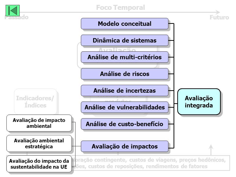 Avaliação monetária: valoração contingente, custos de viagens, preços hedônicos, custos de prevenções, custos de reposições, rendimentos de fatores Foco Temporal Passado Futuro Avaliação Ambiental Avaliação Ambiental Avaliação dos produtos relacionados Avaliação dos produtos relacionados Indicadores/ Índices Indicadores/ Índices Avaliação integrada Avaliação integrada Modelo conceitual Dinâmica de sistemas Análise de multi-critérios Análise de riscos Análise de incertezas Análise de vulnerabilidades Análise de custo-benefício Avaliação de impactos Avaliação de impacto ambiental Avaliação de impacto ambiental Avaliação ambiental estratégica Avaliação ambiental estratégica Avaliação do impacto da sustentabilidade na UE Avaliação do impacto da sustentabilidade na UE