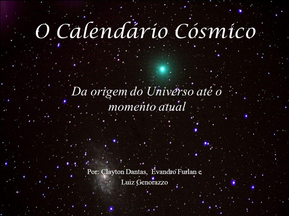 Redução da história do universo à um ano terrestre Escala 1 segundo = 475 anos terrestres