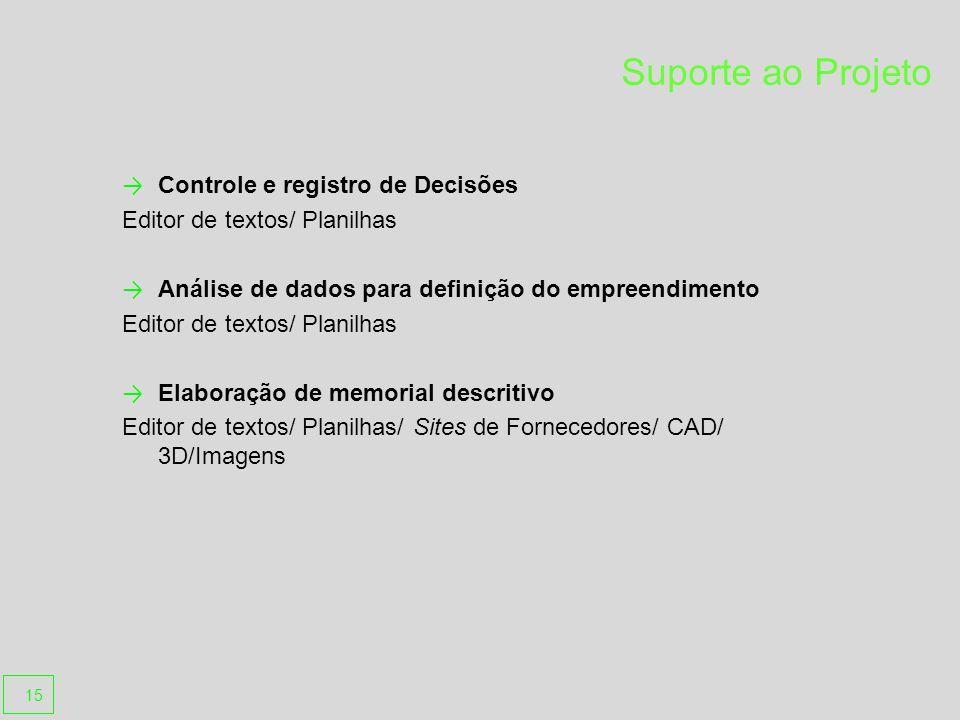 Suporte ao Projeto Controle e registro de Decisões Editor de textos/ Planilhas Análise de dados para definição do empreendimento Editor de textos/ Planilhas Elaboração de memorial descritivo Editor de textos/ Planilhas/ Sites de Fornecedores/ CAD/ 3D/Imagens 15
