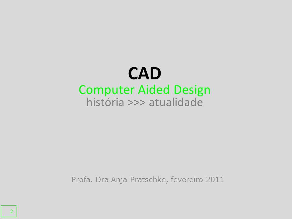 Profa. Dra Anja Pratschke, fevereiro 2011 CAD Computer Aided Design história >>> atualidade 2