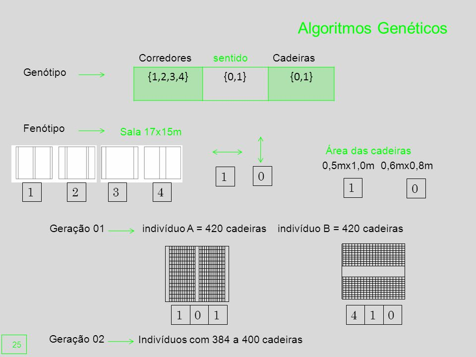 Algoritmos Genéticos {1,2,3,4}{0,1} Corredores sentidoCadeiras Genótipo Geração 01 1 0 0,5mx1,0m 0,6mx0,8m Área das cadeiras 0 1 Fenótipo Geração 02 indivíduo A = 420 cadeiras indivíduo B = 420 cadeiras Indivíduos com 384 a 400 cadeiras 1234 Sala 17x15m 01410 1 25