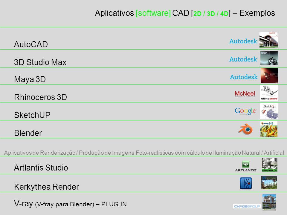 Aplicativos [software] CAD [ 2D / 3D / 4D ] – Exemplos 3D Studio Max Maya 3D Rhinoceros 3D SketchUP Blender Artlantis Studio Kerkythea Render Aplicativos de Renderização / Produção de Imagens Foto-realísticas com cálculo de Iluminação Natural / Artificial AutoCAD V-ray (V-fray para Blender) – PLUG IN
