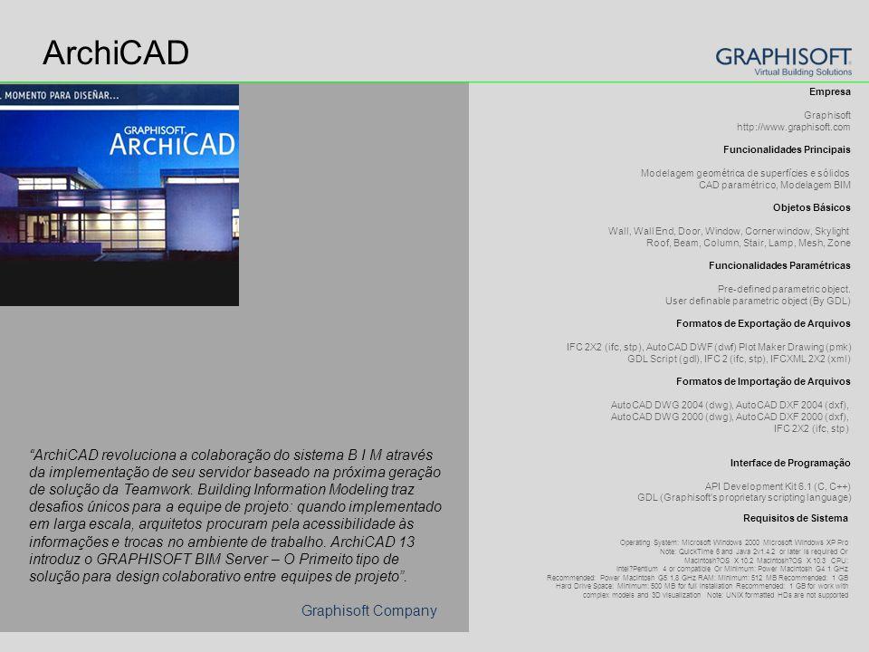 ArchiCAD Empresa Graphisoft http://www.graphisoft.com Funcionalidades Principais Modelagem geométrica de superfícies e sólidos CAD paramétrico, Modelagem BIM Objetos Básicos Wall, Wall End, Door, Window, Corner window, Skylight Roof, Beam, Column, Stair, Lamp, Mesh, Zone Funcionalidades Paramétricas Pre-defined parametric object.