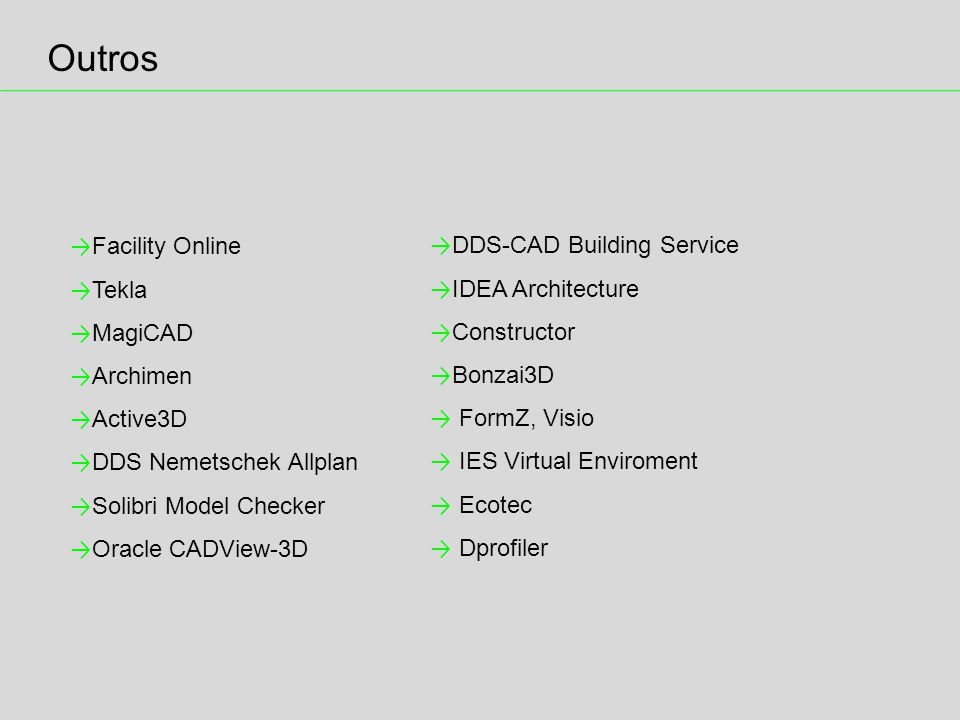 Outros Facility Online Tekla MagiCAD Archimen Active3D DDS Nemetschek Allplan Solibri Model Checker Oracle CADView-3D DDS-CAD Building Service IDEA Architecture Constructor Bonzai3D FormZ, Visio IES Virtual Enviroment Ecotec Dprofiler