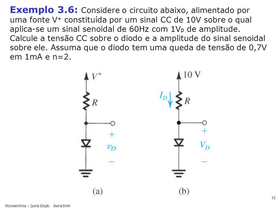 Microeletrônica – Quinta Edição Sedra/Smith 14 Exemplo 3.6: Considere o circuito abaixo, alimentado por uma fonte V + constituída por um sinal CC de 10V sobre o qual aplica-se um sinal senoidal de 60Hz com 1V p de amplitude.