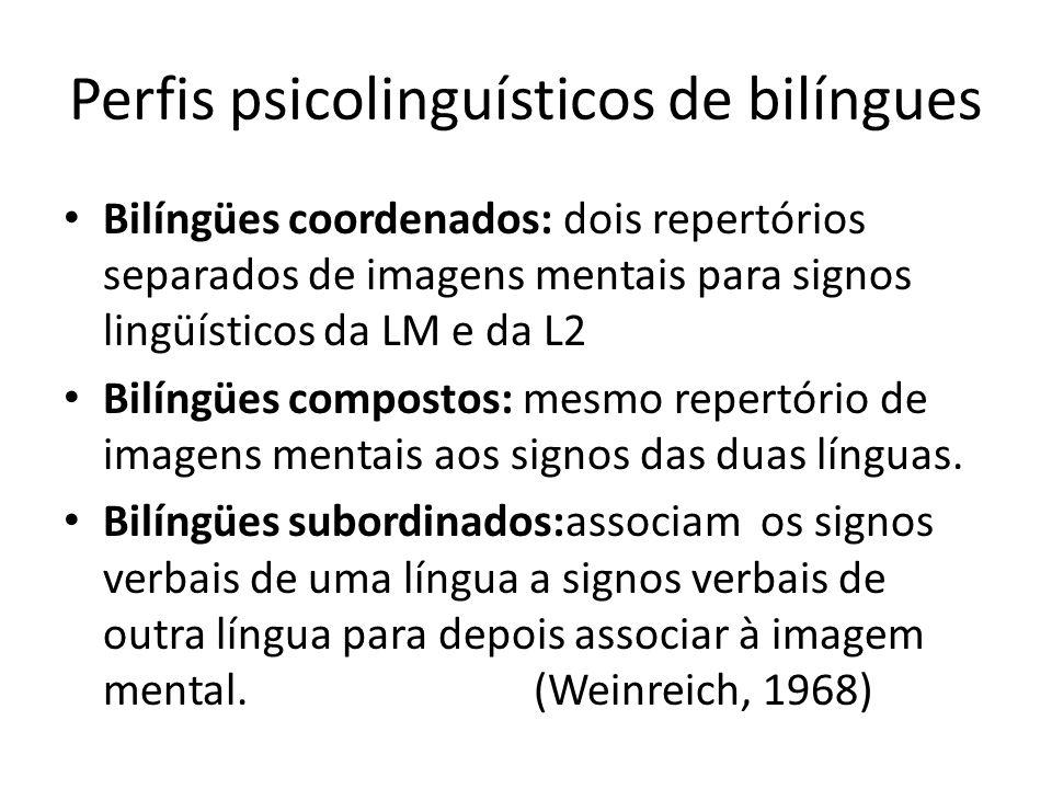 Perfis psicolinguísticos de bilíngues Bilíngües coordenados: dois repertórios separados de imagens mentais para signos lingüísticos da LM e da L2 Bilíngües compostos: mesmo repertório de imagens mentais aos signos das duas línguas.