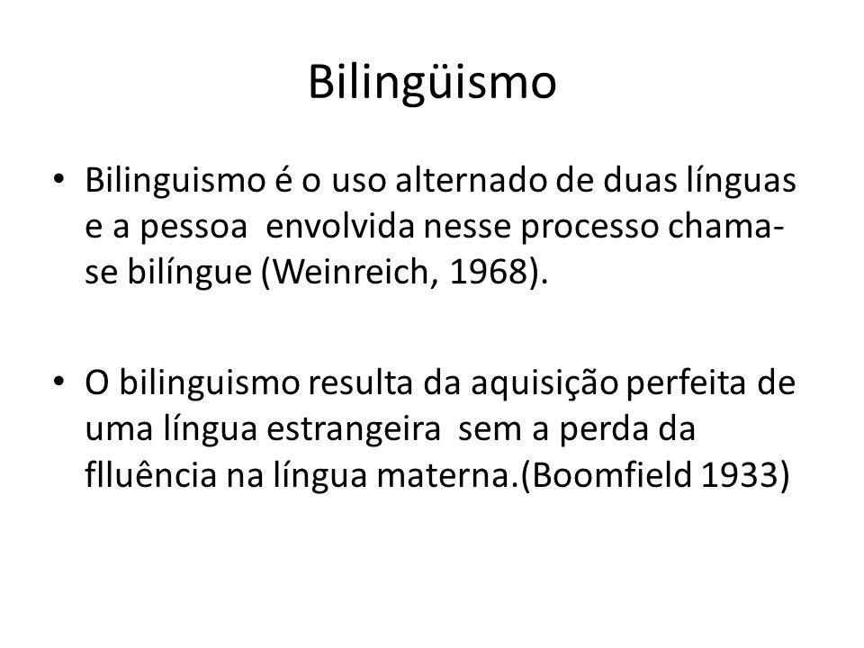 Bilingüismo Bilinguismo é o uso alternado de duas línguas e a pessoa envolvida nesse processo chama- se bilíngue (Weinreich, 1968).