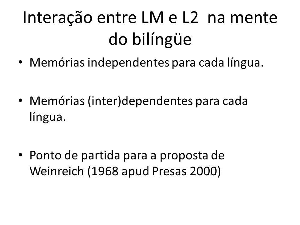Interação entre LM e L2 na mente do bilíngüe Memórias independentes para cada língua. Memórias (inter)dependentes para cada língua. Ponto de partida p