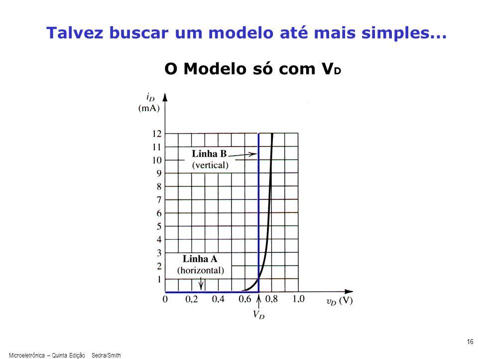 Microeletrônica – Quinta Edição Sedra/Smith 16 O Modelo só com V D Talvez buscar um modelo até mais simples...