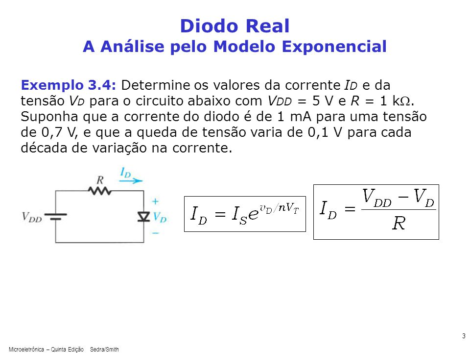 Microeletrônica – Quinta Edição Sedra/Smith 3 Diodo Real A Análise pelo Modelo Exponencial Exemplo 3.4: Determine os valores da corrente I D e da tens