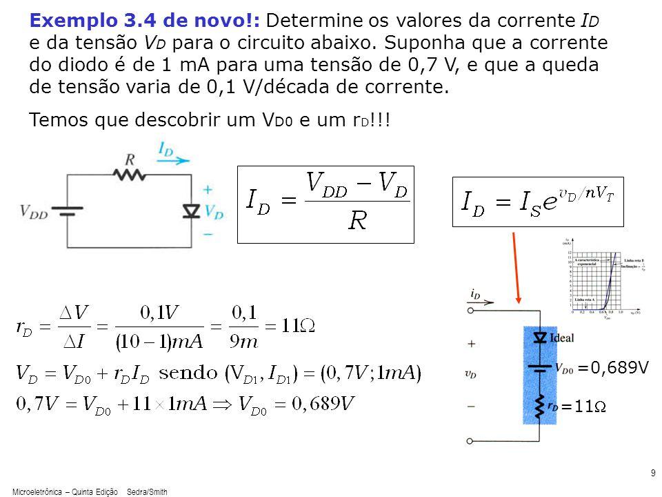 Microeletrônica – Quinta Edição Sedra/Smith 9 Exemplo 3.4 de novo!: Determine os valores da corrente I D e da tensão V D para o circuito abaixo. Supon