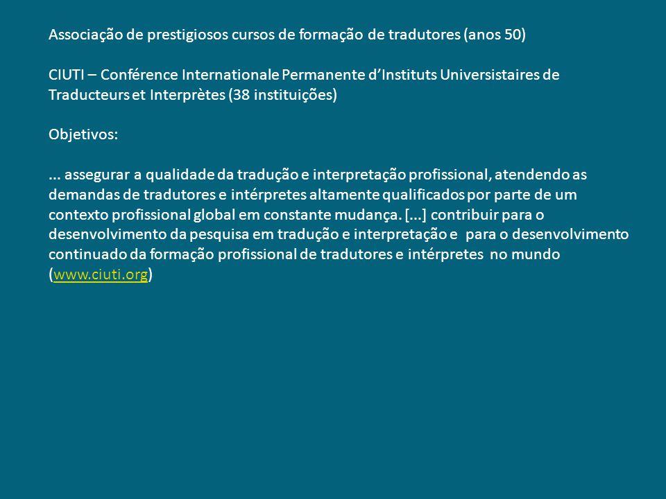 Associação de prestigiosos cursos de formação de tradutores (anos 50) CIUTI – Conférence Internationale Permanente dInstituts Universistaires de Tradu