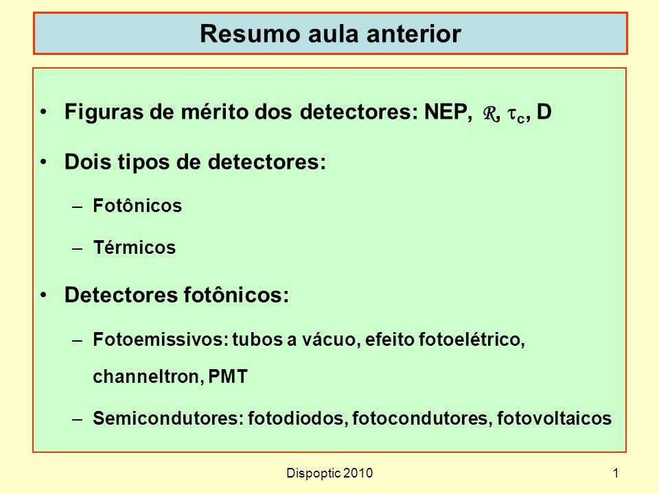 Dispoptic 20101 Resumo aula anterior Figuras de mérito dos detectores: NEP, R, c, D Dois tipos de detectores: –Fotônicos –Térmicos Detectores fotônico