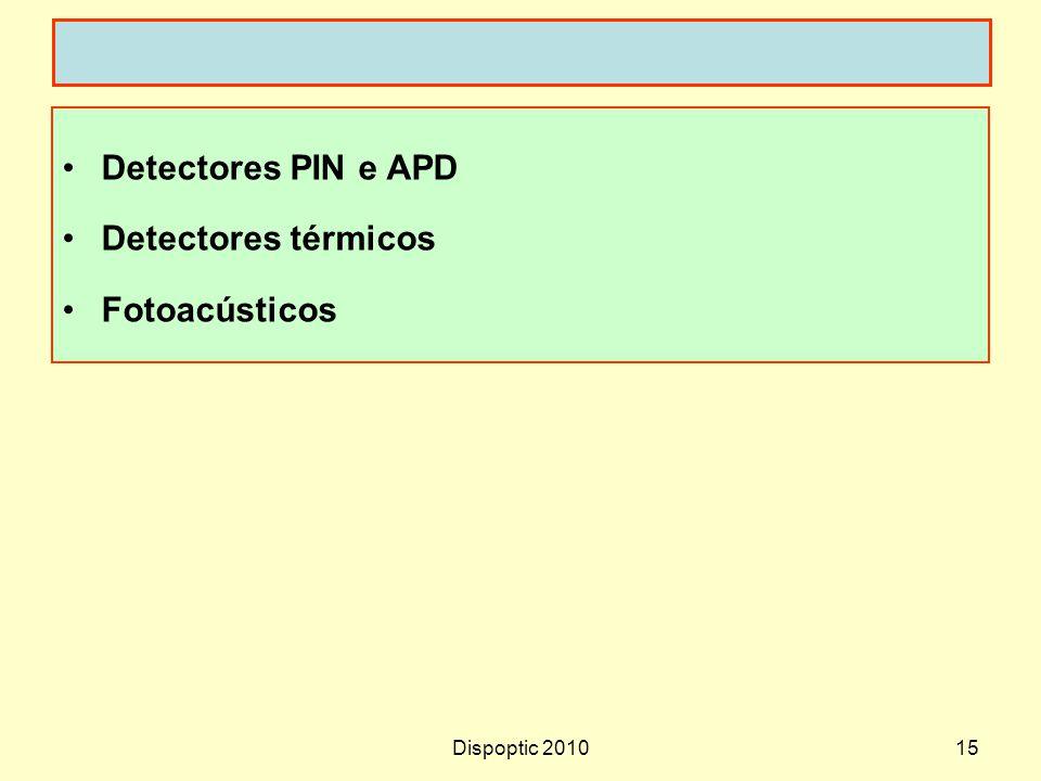 Dispoptic 201015 Detectores PIN e APD Detectores térmicos Fotoacústicos