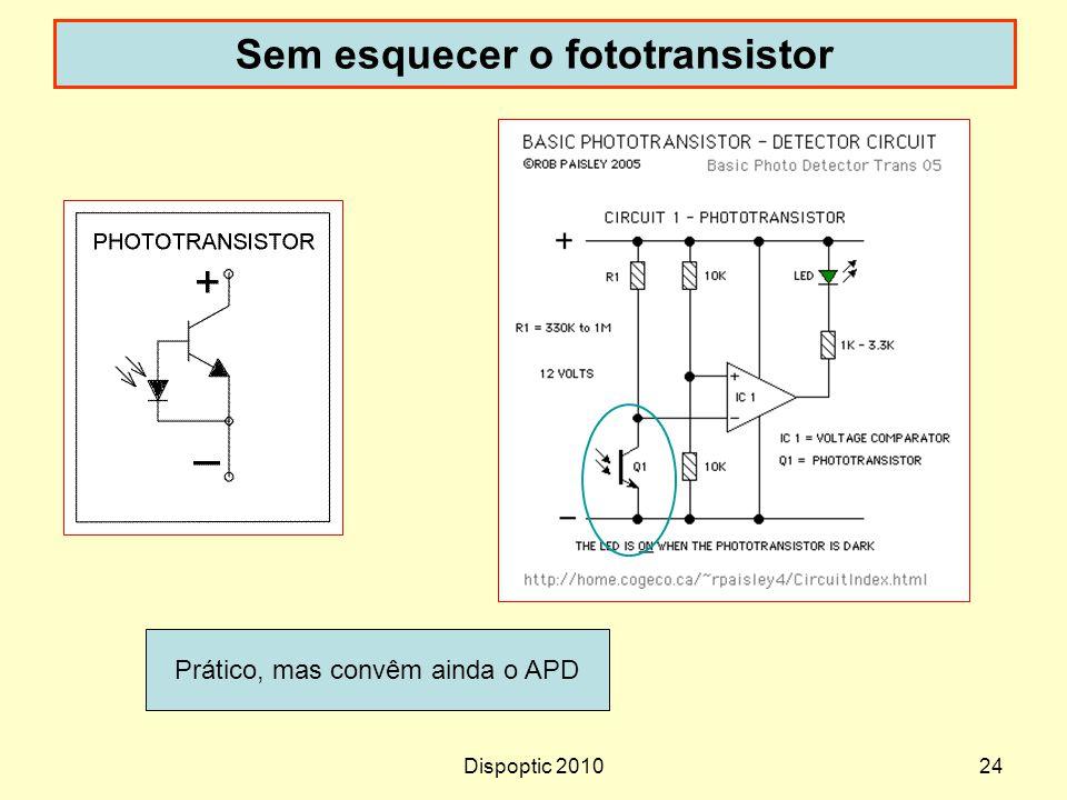 Dispoptic 201024 Sem esquecer o fototransistor Prático, mas convêm ainda o APD